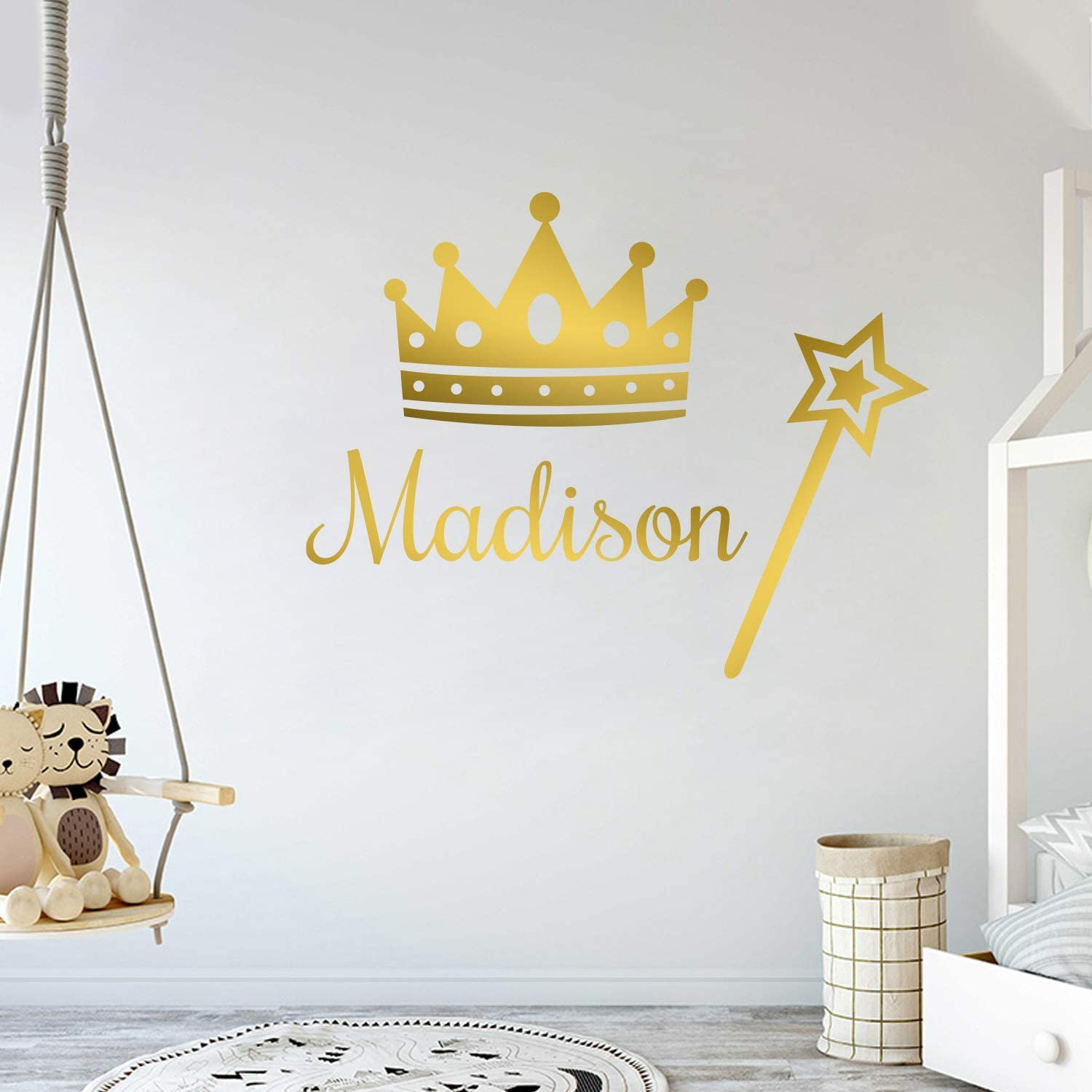 Multiple Font Princess Decor - Personalized Name Princess Wall Decal - Nursery Baby Girl Decoration - Mural Wall Decal Sticker for Home Interior Decoration Car Laptop (M382V2)