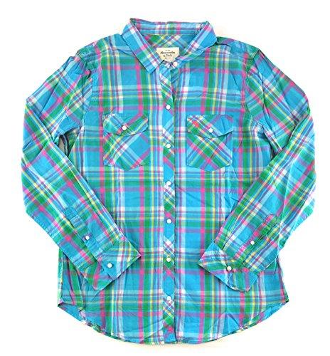 Abercrombie & Fitch Women's Long Sleeve Woven Shirt Large Aqua Pink Green 0515 - Abercrombie Womens Shirt
