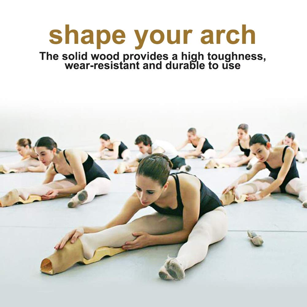 Ballet Foot Stretcher Wooden Ballet Dance Foot Stretch Arch Enhancer Elastic Band for Ballet Dance Gymnastics Cheer Yoga