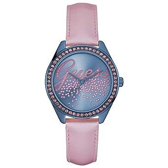 46d1bf55c57a Guess Reloj analogico para Mujer de Cuarzo con Correa en Tela W0161L3   Amazon.es  Relojes