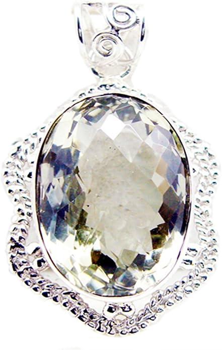 CaratYogi Genuine Green Amethyst Charms Birthstone Pendant Oval Vintage Sterling Silver Handmade Pendant