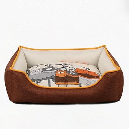 Suministros para camas Cama de Mascota Cuadrada marrón de Dibujos Animados Cuatro Estaciones Lavables camada de
