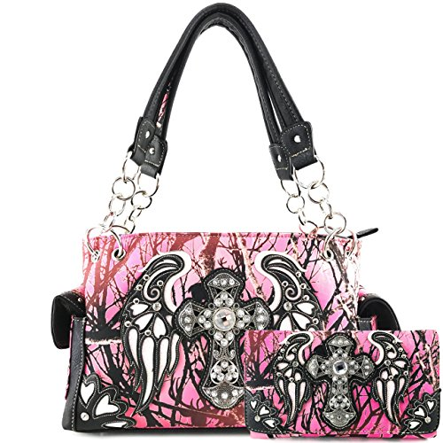 (Justin West Camouflage Tree Branches Bling Rhinestone Cross Wings Handbag Purse Messenger Bags and Wallets (Cross Pink White Handbag and Wallet))