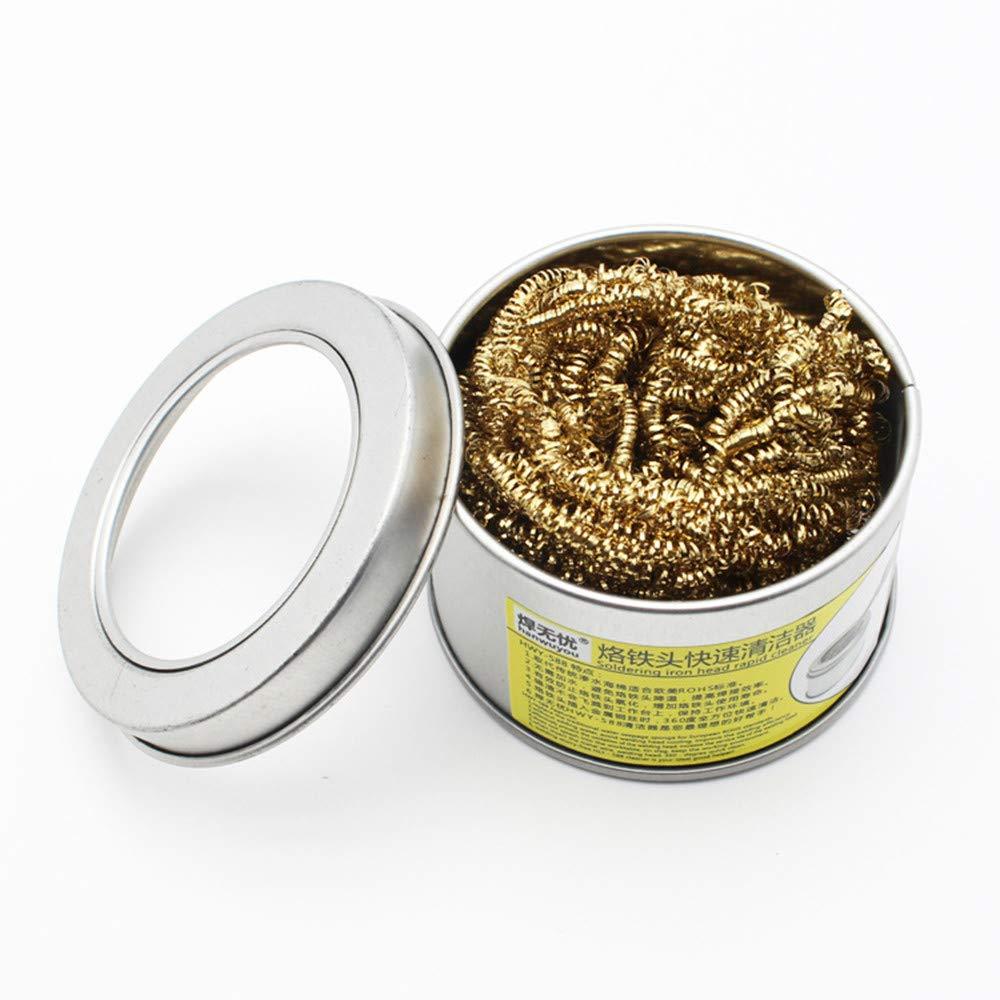MMLC 1 Pack Lö tspitze Reinigung Draht, Trockenschwamm aus Metallwolle (Gelb)