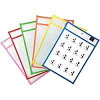 6 Pack Dry Erase Pockets Sleeves, 10 x 13 inches, Assorted Colors