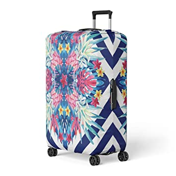 Pineapples And Tropical Leaves Travel Luggage Cover Suitcase Protector Washable Zipper Baggage Cover