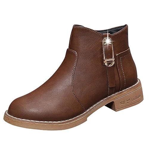 ❤ Tefamore Botas de Mujer con Cuero Botines de Ankle Martin Botas Tobillo Clásica Moda Cremallera Zapatos de Mujer: Amazon.es: Zapatos y complementos