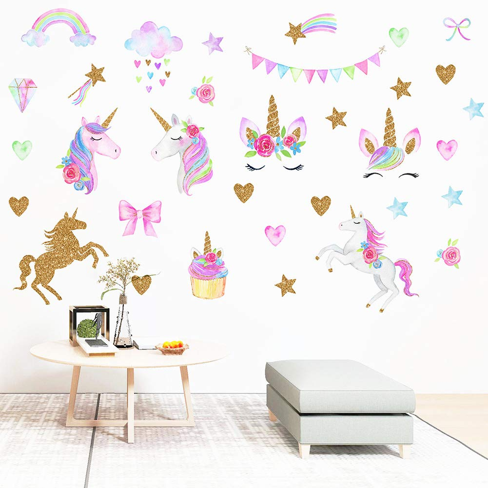 [New Design] Cute Unicorn Wall Sticker Removal PVC Wall Art Stickers Wall Mural Decor for Kids Girls Bedroom Home Nursery Room