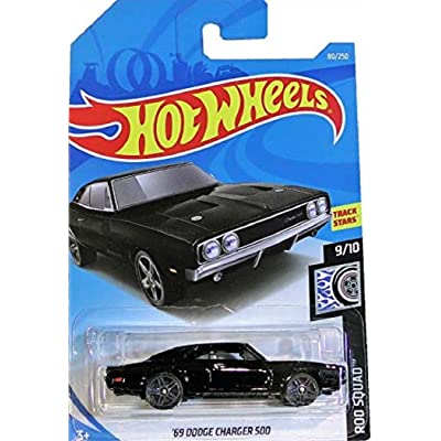 Hot Wheels 2020 Die-Cast Vehicle Rod Squad: '69 Dodge Charger 500 (Black) - Int. Card: Toys & Games