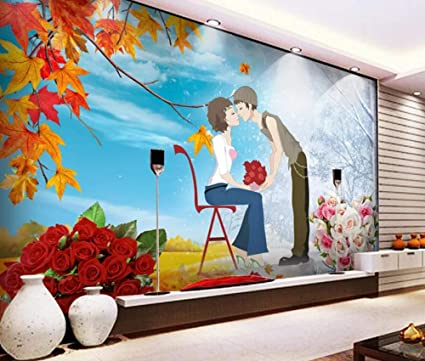 Wall Mural 3d Wallpaper Hand Painted Romantic Maple Red Rose Love