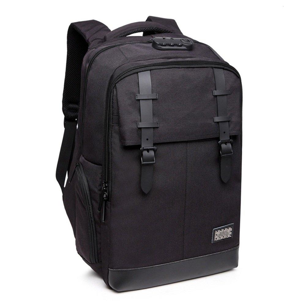 Sunbobo Männer Reisen Rucksack Casual Diebstahlsicherung USB Wasserdicht Oxford Tuch Laptop Daypack Commerce Geschäftsreise (Farbe   Schwarz)
