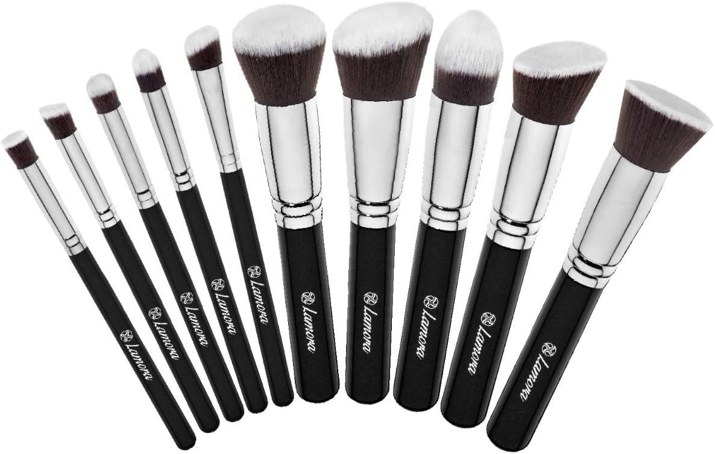 Set De Brochas De Maquillaje Profesional - Pinceles Maquillaje 10 Piezas - Brochas Base De Maquillaje, Brocha Kabuki, Brocha Polvos, Brochas De Maquillaje Ojos - Pelo Sintético Calidad Premium