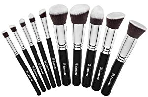 Foundation Kabuki Makeup Brush Set - Powder Blush Concealer Contour Brushes - Perfect For Liquid, Cream or Mineral Products - 10 Pc Collection With Premium Synthetic Bristles For Eye and Face Cosmetic