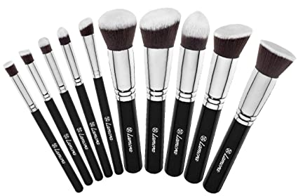 Set de Brochas - Kabuki Para Base de Maquillaje, Polvos, Rubor y aplicación de Corrector - Con Pelo Sintético Calidad Premium - Colección de 10 Piezas ...