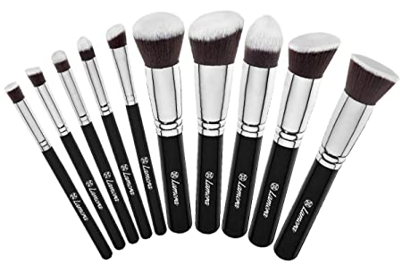 Lamora Makeup Brush Set Kabuki Brushes Synthetic, 10 Piece Make-up Sets & Kits at amazon