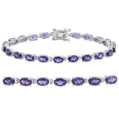 3d61ade0e Amazon.com: Amethyst Tennis Bracelet in Sterling Silver 7 1/4 inch: Jewelry