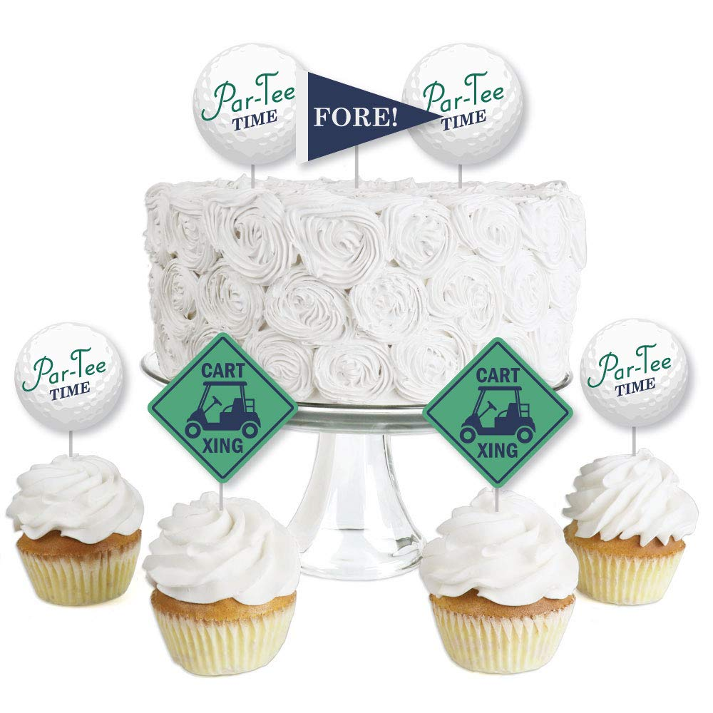 Par-Tee Time - Golf - Dessert Cupcake Toppers - Birthday or Retirement Party Clear Treat Picks - Set of 24