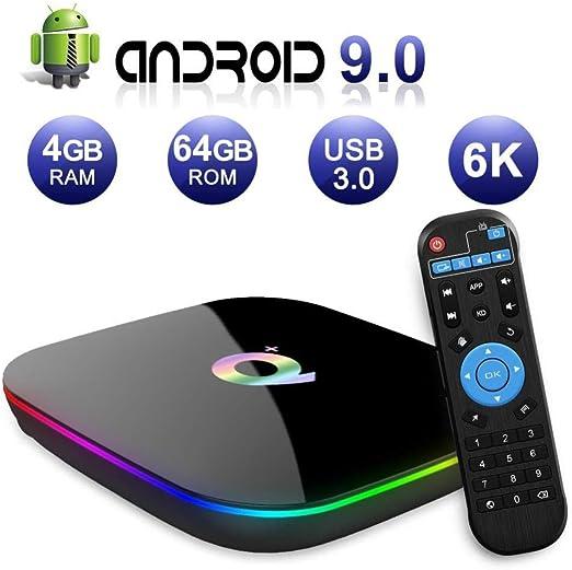 YPSMLYY Q Plus Smart Media Box Android 9.0 Network TV Box 4GB RAM 64GB ROM H6 Quad-Core WiFi 2.4G Ethernet USB 3.0 Decodificador Soporta Reproductor De Video De Internet De Ultra Alta: