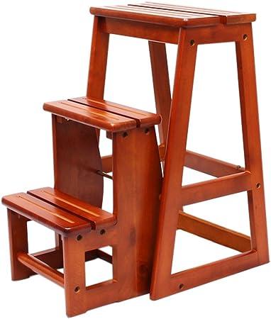 Taburetes Taburetes de escalera, escaleras de madera plegables escalera de taburete de múltiples funciones taburete de escalera de tres pisos de madera maciza taburete balcón escalera de jardín tabure: Amazon.es: Hogar