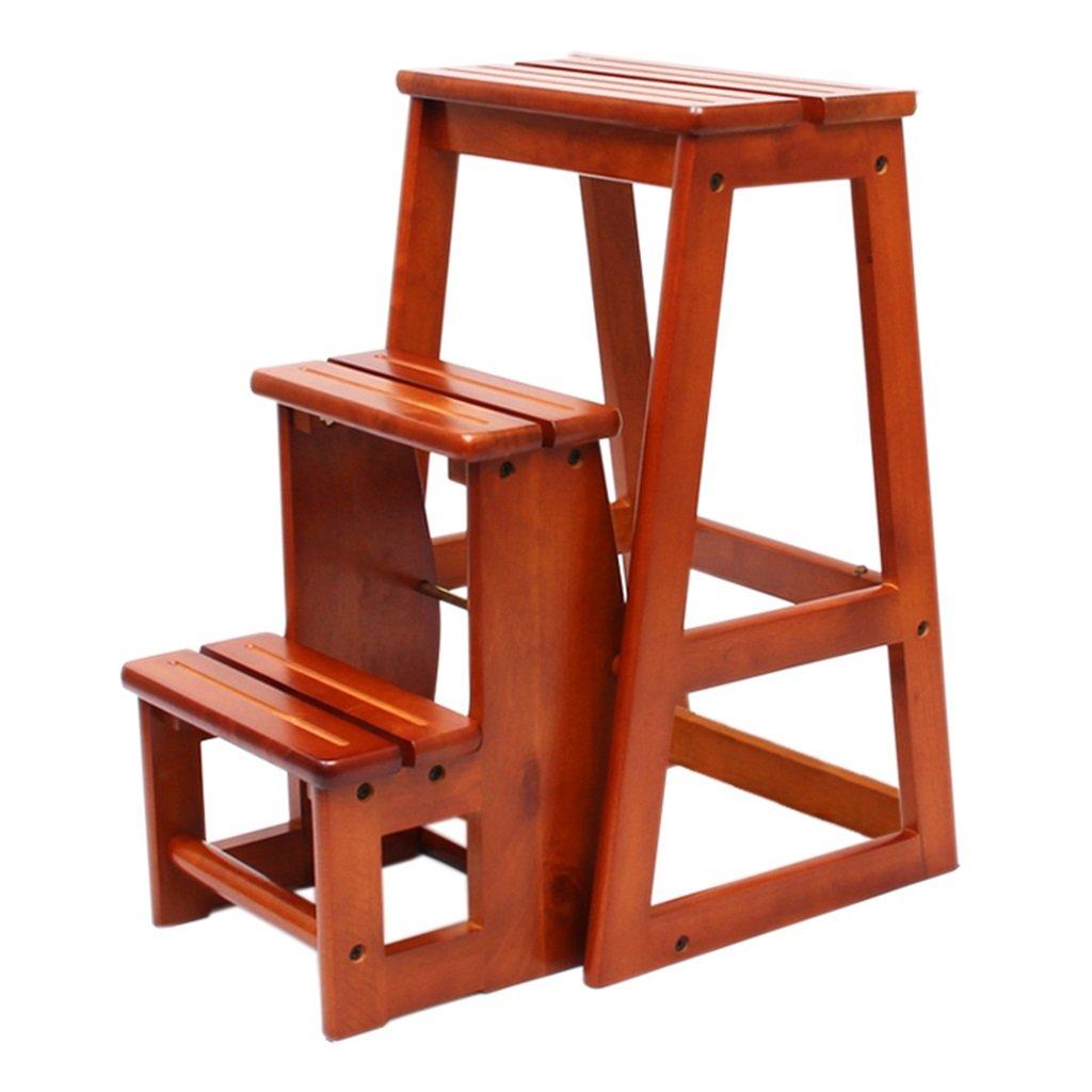ステップのスツール、折り畳み家の階段木のステップスツールのはしご多機能のはしごのスツール3層の木製の階段スツールバルコニーの庭のはしごのスツール (Color : Brown, Size : 38 * 56.5 * 64cm) B07GR6PM1N Brown 38*56.5*64cm