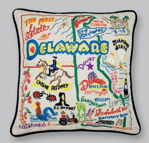 Delaware State Pillow by Catstudio by Catstudio Embroidered Pillow