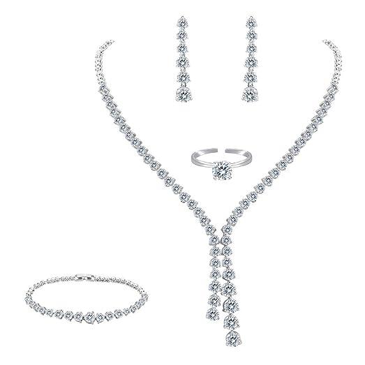 FANZE Women's Prong All Teardrop Cubic Zirconia Gorgeous Wedding Bridal Y-Necklace Dangle Earrings Jewelry Set JZsqmw