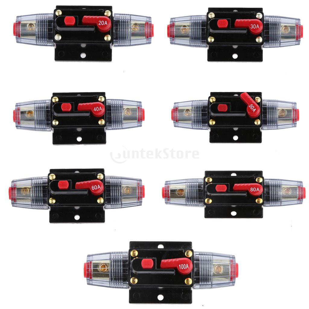 12V-24V Inline Auto Circuit Breaker 20A Manual Reset Switch Car Audio Fuse