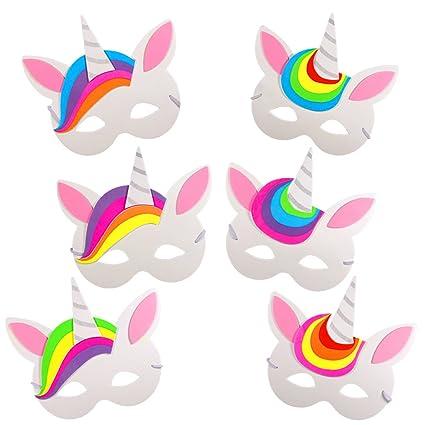 German Trendseller 6 x máscara unicornio┃espuma┃para regalo ┃fiestas infantiles┃ idea