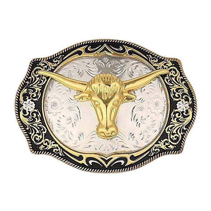 Western GOLD PEWTER LONGHORN BULL BELT BUCKLE Texas Cowboy Gift