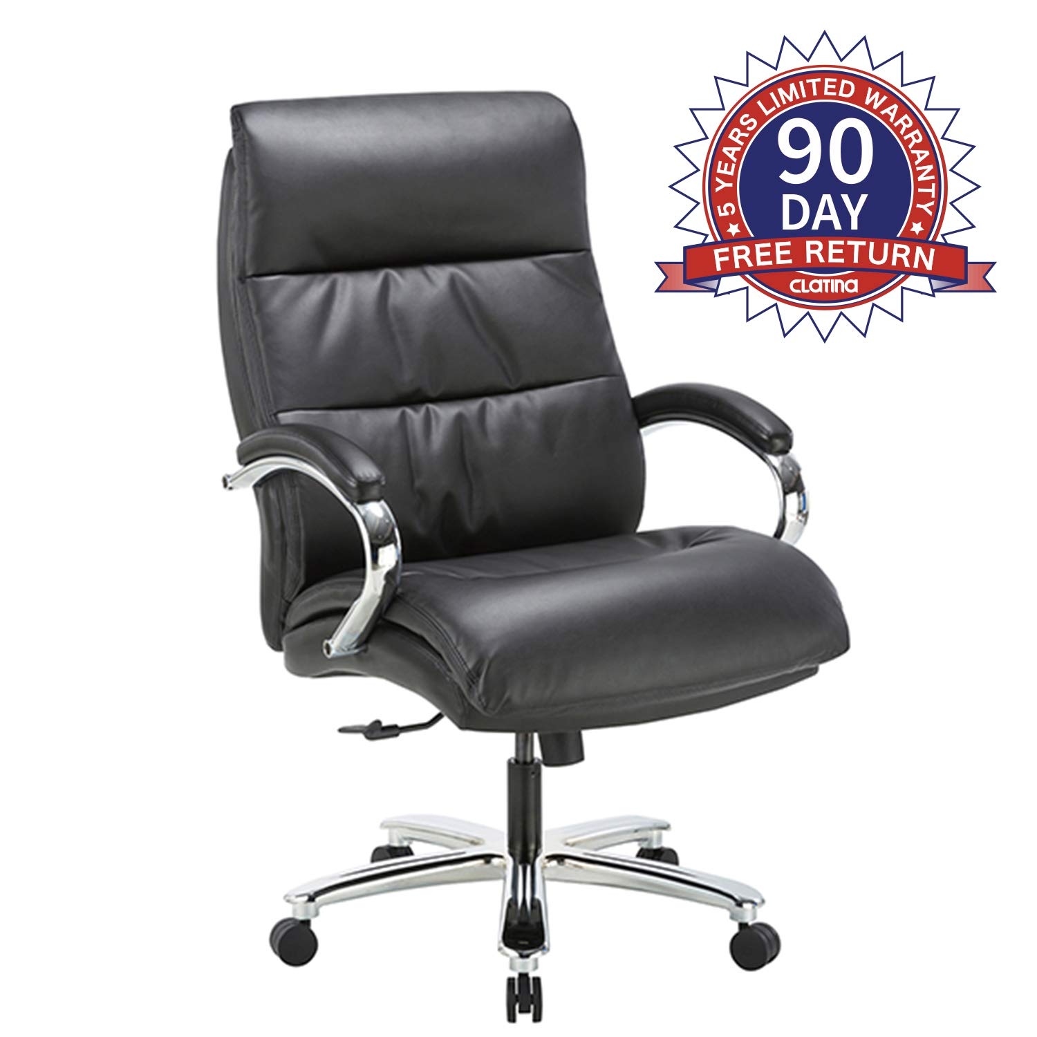 Ergonomic Big & Tall Executive Office Chair with Bonded Leather 400lbs High Capacity Swivel Adjustable Height Thick Padding Headrest and Armrest for Home Office Black