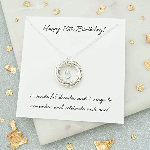 70th Birthday Gift For Her 7 Rings Decades Necklace With