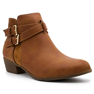 Women's Strappy Buckle Closed Toe Bootie - Low Heel Casual Comfortable Walking Boot