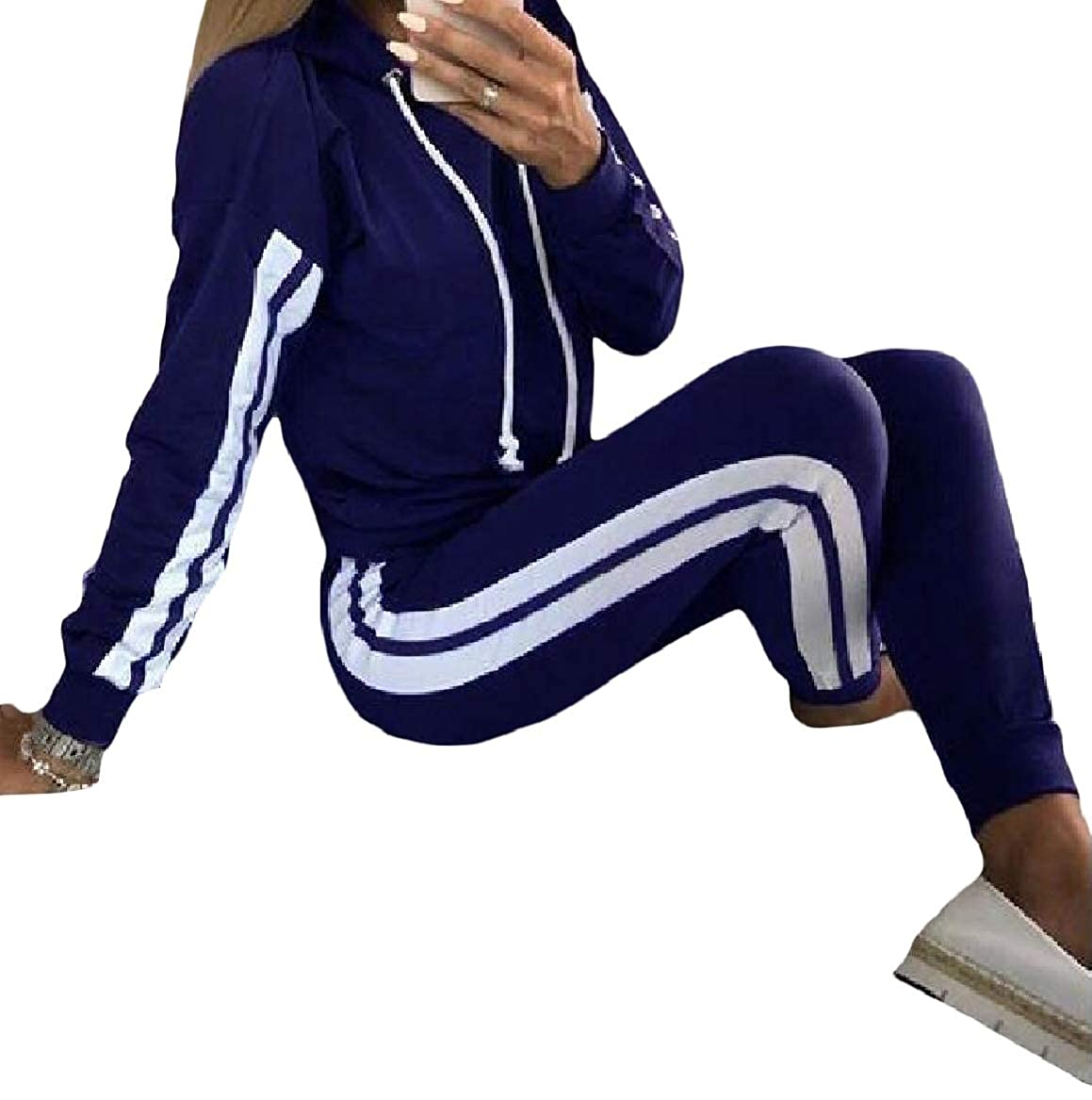 SayahWomen Pinstripe Lounge 2 Piece Set Fashion Sportswear Tracksuit