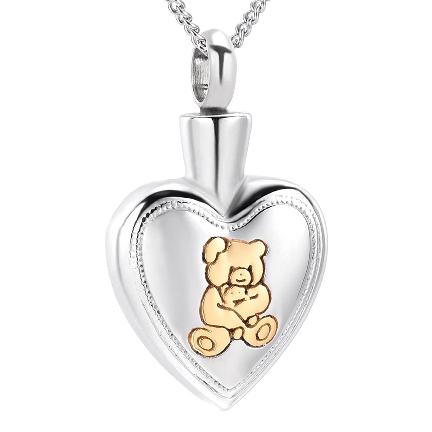 Cute Bear Logo Heart Pendant Cremation Urn Necklace Ashes Keepsake Memorial Jewelry+Fill Kit