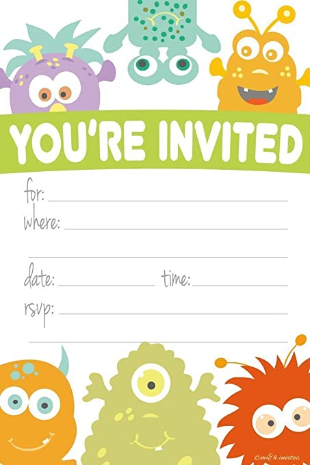 monster themed party invitations fill in style 20 count with envelopes by mh