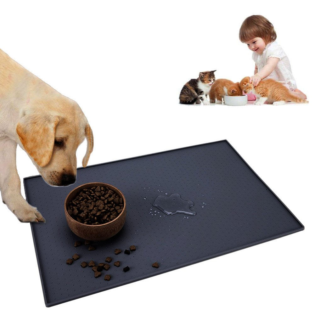 Pet Food Mat for Dogs and Cats, 24''x16'' Large Washable Silicone Pet Feeding Mat Non Slip Dog Bowl MatWaterproof Cat Placemat