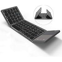 Jelly Comb Bluetooth Tastatur mit Touchpad, Faltbare Kabellose Mini Funktastatur, QWERTZ Deutsches Layout, Kompatibel mit PC, Laptop, iPad, Android Tablet(Samsung, Huawei usw), Smartphone, Grau