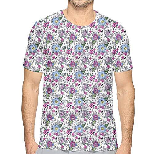 Mens t Shirt Flower,Colorful Blossoms Leaves HD Print t Shirt XL