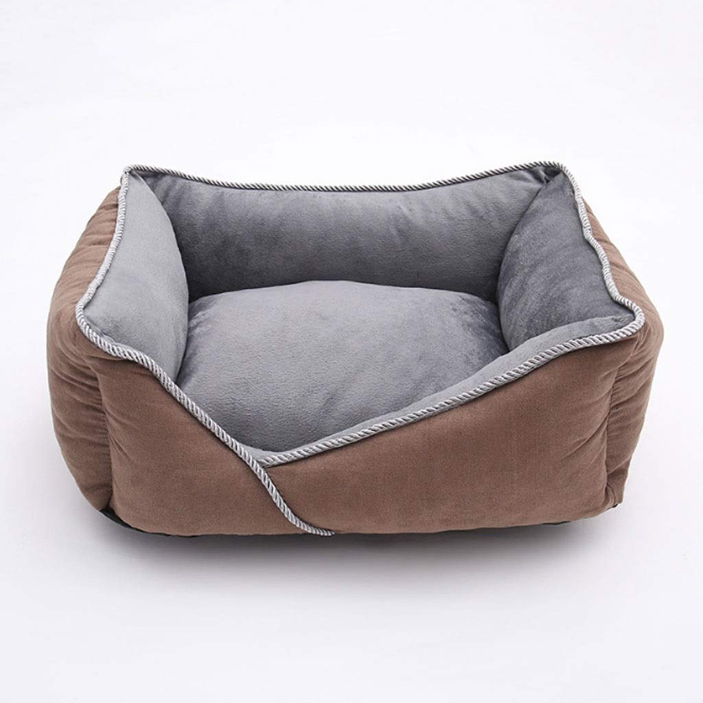Brown LargeBarryL Dog Bed Cat Bed Warm In Autumn And Winter, Breathable Independent Liner, Removable And Washable Pet Nest Dog Bed Dog Mat Pet Bed (color   bluee, Size   L)