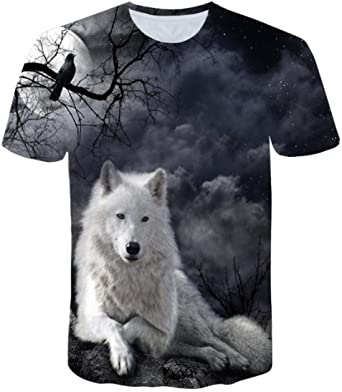 XWSKY T Shirt à imprimé de Flammes de Loup T Shirt Homme à