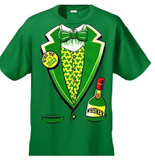 c796df25a Irish Whiskey Tuxedo St Patricks Day Drinking Funny Clover Mens T-shirt ( Large,