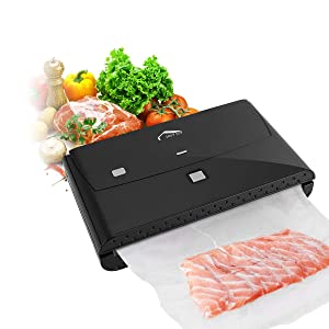 Vacuum Sealer, Wellwerks 2 IN 1 Vacuum Sealing System with Cutter, Automatic Vacuum Food Sealer for Food Savers with 10 Pcs BPA Free Vacuum Bags.