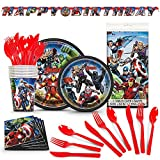 Avengers Birthday Party Supplies (66 Premium Pieces) Bundled with Avengers Plates, Napkins, Cups, Cutlery, Table Cloth and Happy Birthday Banner for 8 Guests