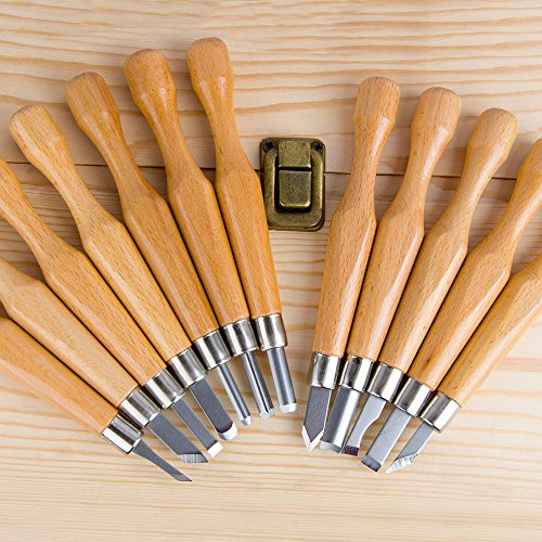 SIMILK 12 Set SK7 Carbon Steel Wood Carving Tools with Protective Cover, Crafting Chisel tools with Leather Finger Guard & Storage Case & Graver Whetstones