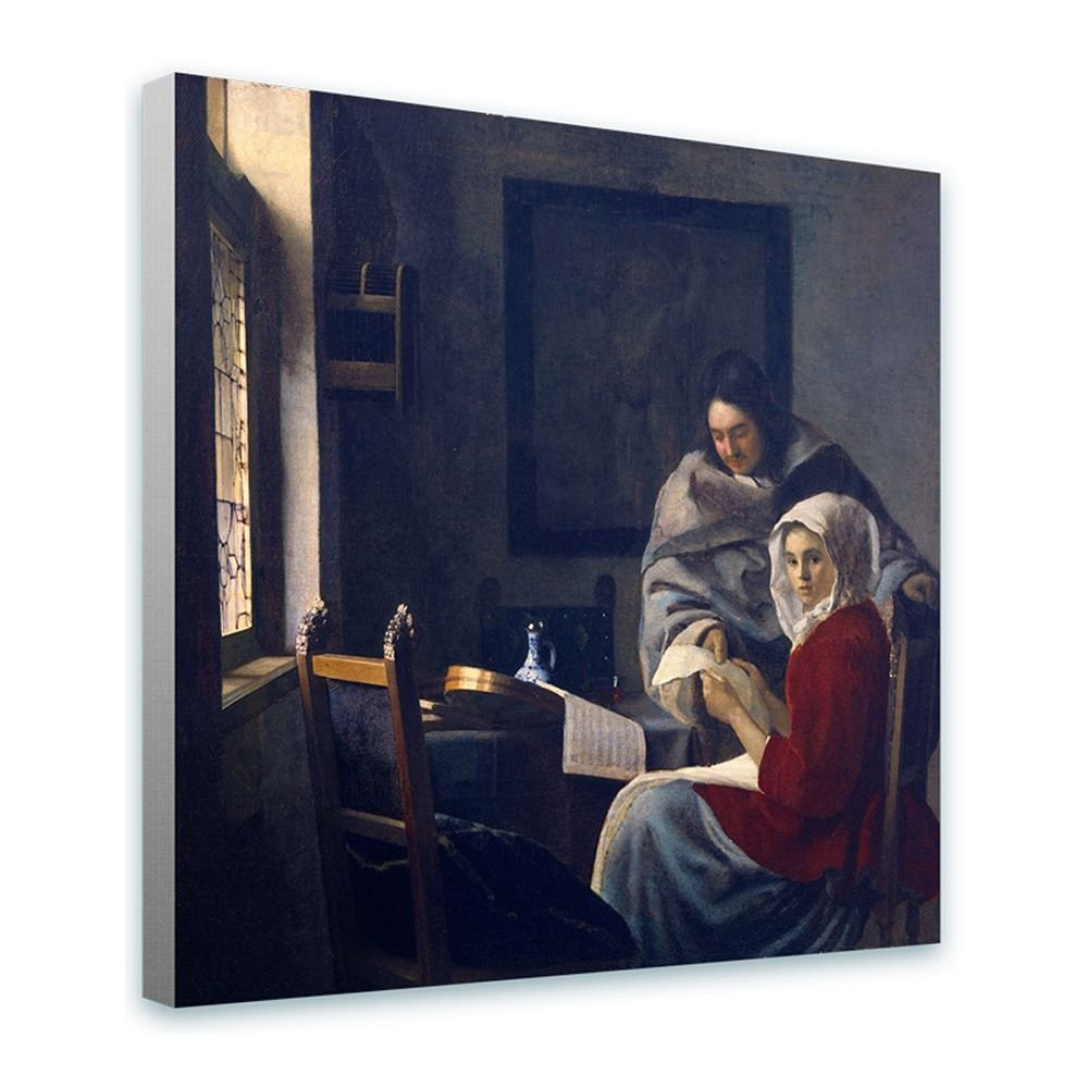 Girl Interrupted by Johannes Vermeer | framed stretched canvas on a ready to hang frame - 100% cotton - gallery wrapped | 32x32 - 81x81cm | by Alonline Art | Framed Print Framed Paints Giclee Alonline Art Studio
