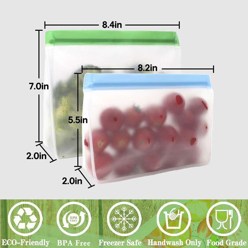 6 Piezas Bolsas de Almacenamiento de Alimentos Reutilizables Bolsa de Alimentos sellable a Prueba de Fugas para bocadillos de s/ándwich Tocino Frutas y Verduras