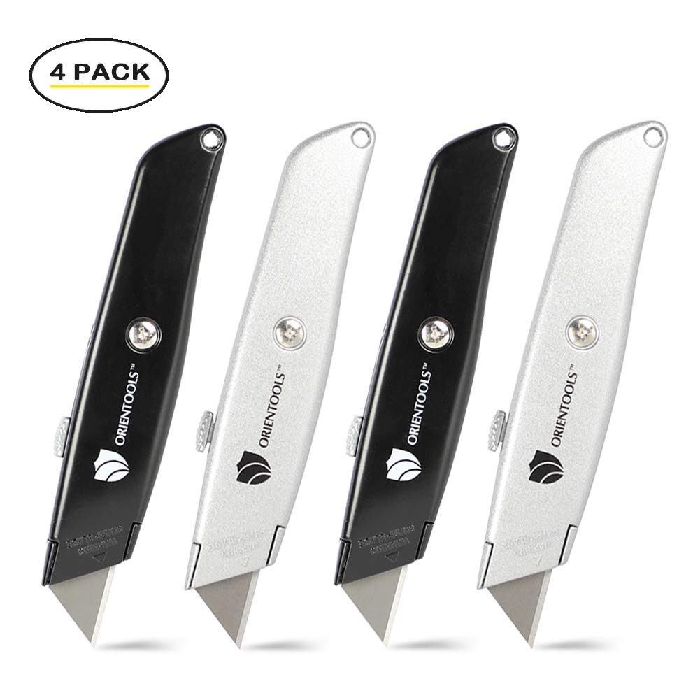 ORIENTOOLS Utility Knife Box Cutter Heavy Duty Retractable,4-Pack, 3 Position Locking Blade, Black and Silver by ORIENTOOLS