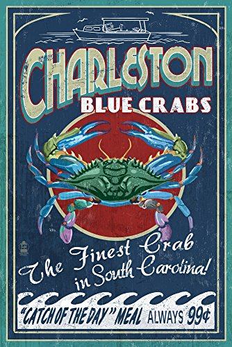 Charleston, South Carolina - Blue Crabs Vintage Sign (9x12 Art Print, Wall Decor Travel Poster)
