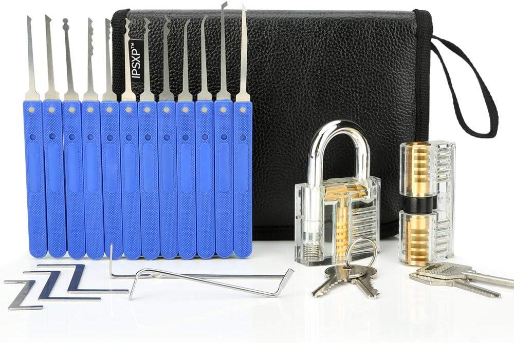 IPSXP Juego De Ganzuas, 26 Piezas Incluir 2 Cerraduras Transparente de Capacitación en Bolsa de Cuero Portátil, Lock Pick Set de Extracción para Principiantes y Cerrajeros Profesionales