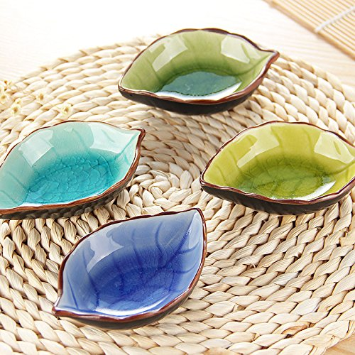 DatingDay 4 Pack Chinese Ceramic Soy Sauce Dish Set for Sushi Dipping, Cute Leaves Shaped